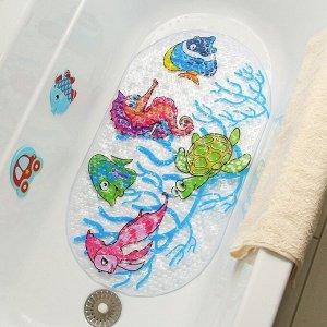 Коврик для ванны Доляна «Морские жители», 37?68 см