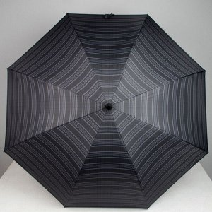 Зонт - трость полуавтоматический «Полоска», 8 спиц, R = 60, цвет чёрный/серый, 1936