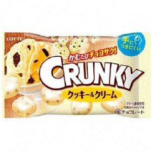 Шоколадное драже Crunky с начинкой из печенья и сливок, Lotte, 32 гр. 1/10/120