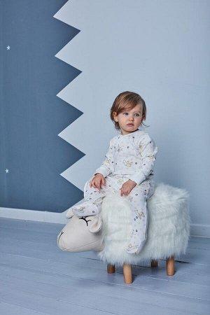 Комбинезон для девочки, белый набивка ламы