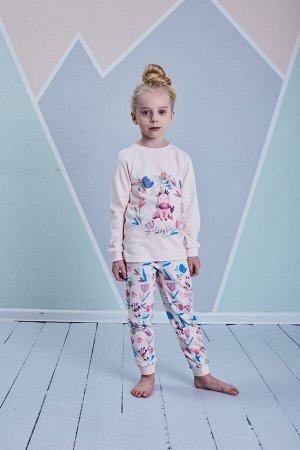 Пижама для девочки, св.розовый набивка цветы