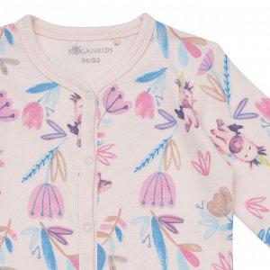 Комбинезон для сна для девочки, св.розовый набивка цветы