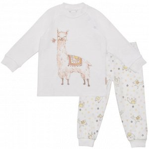 Пижама для девочки, белый набивка ламы