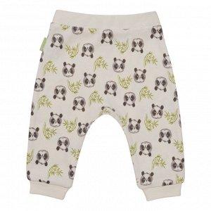 Ползунки для мальчика, молочный набивка панды