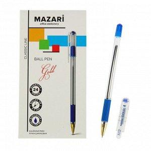 Ручка шариковая Mazari Gold, 0.5 мм, резиновый упор, синяя