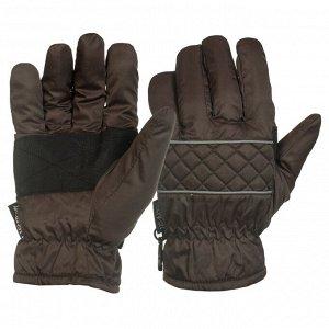 Перчатки Коричневые перчатки с черными вставками на ладонях   - отличная осенне-зимняя модель, теплая и прочная №1014