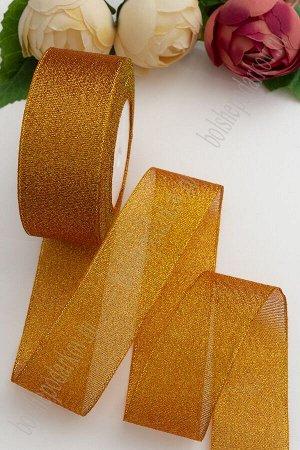 Лента парча 4 см*25 ярд (SF-1795) оранжевый/золото №24