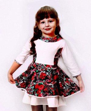 """Платье для девочки, с длинным рукавом красное """"Ретро"""""""