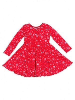 """Нарядное платье с длинным рукавом """"Снег/красный"""""""