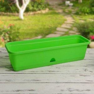 Ящик балконный 60 см, с поддоном, цвет зелёный