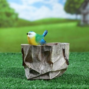 """Фигурное кашпо """"Пакет с птичкой широкий"""" 17,5х14см"""