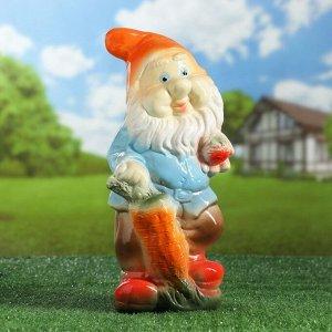 """Садовая фигура """"Гном с морковкой"""" 36см МИКС"""