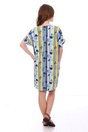 Туника Цвет: желтый; Состав: Хлопок 100 %; Материал: Кулирка Яркая туника на лето. Ее можно носить как отдельное платье, так и с лосинами!