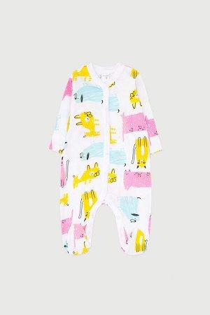 Комбинезон(Весна-Лето)+baby (розовые кошки, собаки на белом)