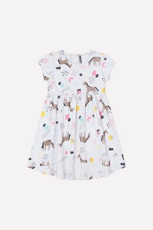 Платье для девочки Crockid КР 5587 светло-серый меланж, волшебные лошадки к251