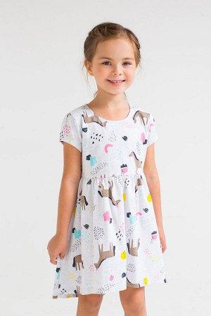 Платье(Весна-Лето)+girls (св.серый меланж, волшебные лошадки к251)