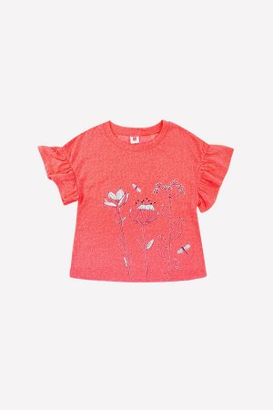 Блузка Цвет: красный; Вид изделия: Трикотажные изделия; Полотно: Супрем; Рисунок: красный; Сезон: Осень-Зима Однотонная футболка для девочки из фактурного хлопкового трикотажа супрем. Короткие рукава