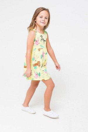 Платье(Весна-Лето)+girls (бледный лимон, звери саванны к1246)