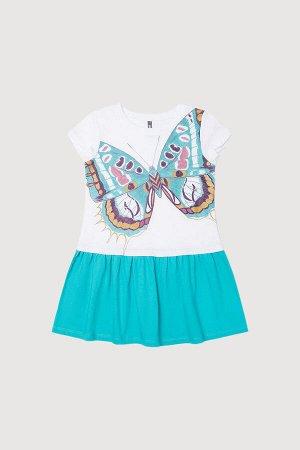 Платье Сезон: Весна-Лето Платье для девочки из хлопкового трикотажа супрем. Юбка на сборке, верхняя часть имитирует надетую сверху футболку. Для 92-98 размеров в области спинки предусмотрена застежка