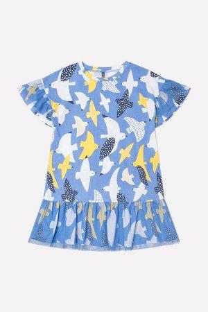Платье Цвет: голубой сапфир, белые чайки к247; Вид изделия: Трикотажные изделия; Полотно: Супрем; Рисунок: голубой сапфир, белые чайки к247; Сезон: Весна-Лето; Коллекция: №247 Чайки Платье из хлопков