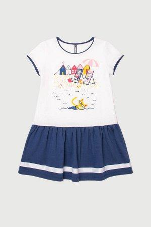 Платье Цвет: сахар, ультрамарин к243; Вид изделия: Трикотажные изделия; Полотно: Супрем; Рисунок: сахар, ультрамарин к243; Сезон: Весна-Лето; Коллекция: №243 Каникулы на море Платье для девочки из хл