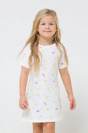 Сорочка Сорочка для девочки из хлопкового трикотажа супрем с набивным рисунком. Рукава со спущенным плечом, длиной чуть выше локтя. Удлиненная спинка, скругленная по низу. Состав 100% хлопок