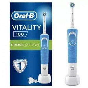 Орал-Би Щетка Зубная Электрическая Vitality D100.413.1 Pro Crossaction Тип 3710 С Зарядным Устройством Тип 3757 Голубая