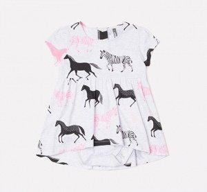 Платье для девочки Crockid КР 5608 светло-серый меланж, лошадки к233