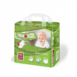 YokoSun детские подгузники-трусики ECO размер XXL (15-23кг.) 32 шт.(1/4)  5326