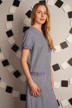 Платье в полоску с декор пуговицами - Волжанка - голубой