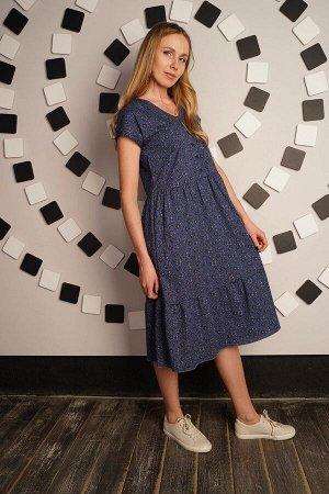 Платье с пуговицами и сборкой - Шанталь clover - синий