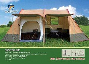 Палатка Размер: (120+145+240)*260, высота 195 см. - Выполнена из высокопрочного, водоотталкивающего материала.Что обеспечивает надёжную защиту в непогоду, уровень влагозащищённости- 3000мм в ст, оче