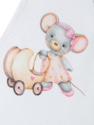 """Шапочка с принтом """"Мышка с коляской"""""""