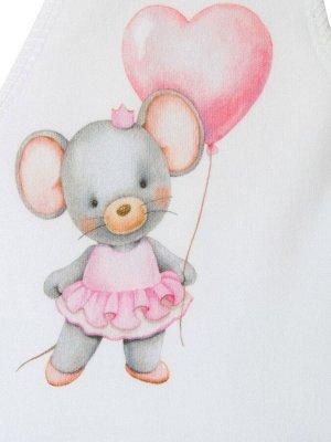"""Шапочка с принтом """"Мышка с сердечком"""""""