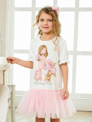 """Платье с принтом """"Девочка с собачкой"""" короткий рукав"""