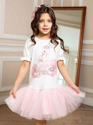 """Платье с принтом """"Лебеди"""" короткий рукав"""