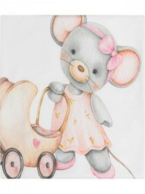 """Трикотажный плед """"Мышка с коляской"""""""