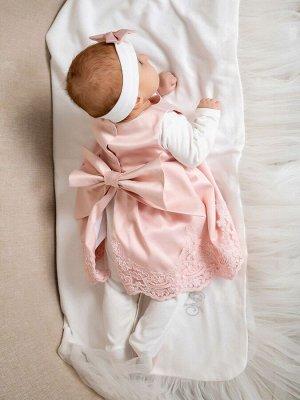 """Комплект на выписку """"Принцесса"""" Русский Сатин комбинезон и платье (розовое с розовым кружевом)"""