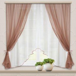 Комплект штор для кухни Шарм 285*160 какао-молочный