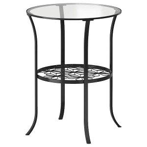 КЛИНГСБУ Придиванный столик, черный, прозрачное стекло49x62 см