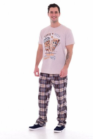 Пижама мужская 9-132 (бежевый), Пицца
