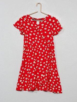 Платье с запахом и цветочным рисунком