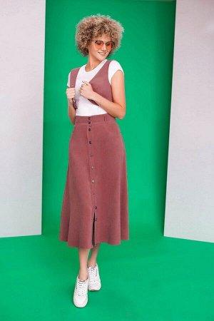 Жилет, юбка Euromoda Артикул: 259 приглушенно-розовый