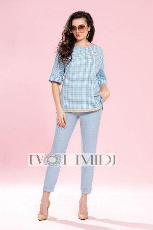 Блуза, брюки Твой имидж Артикул: 1208 голубой