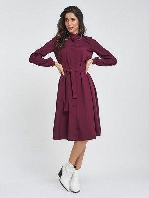 Свободное бордовое платье на пуговицах