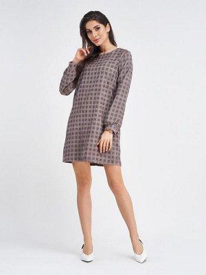 Вельветовое клетчатое коричневое платье