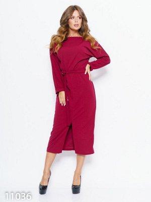 Бордовое платье с длинными цельнокроенными рукавами