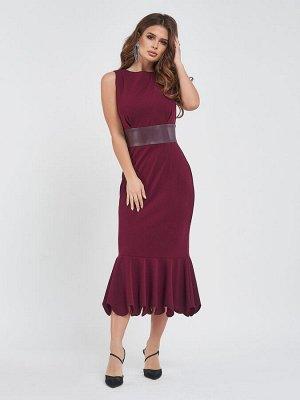 Бордовое платье-годе с кожаной вставкой