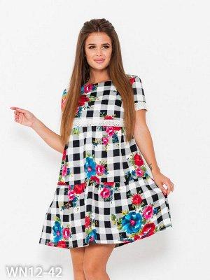 Клетчатое принтованное платье с винтажным кружевом