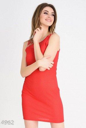 Красное вечернее платье без рукавов с сеткой и люрексом